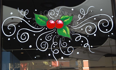 Christmas Window Painting by Denise Santos