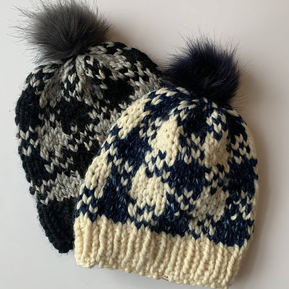 Houndstooth Winter Hat