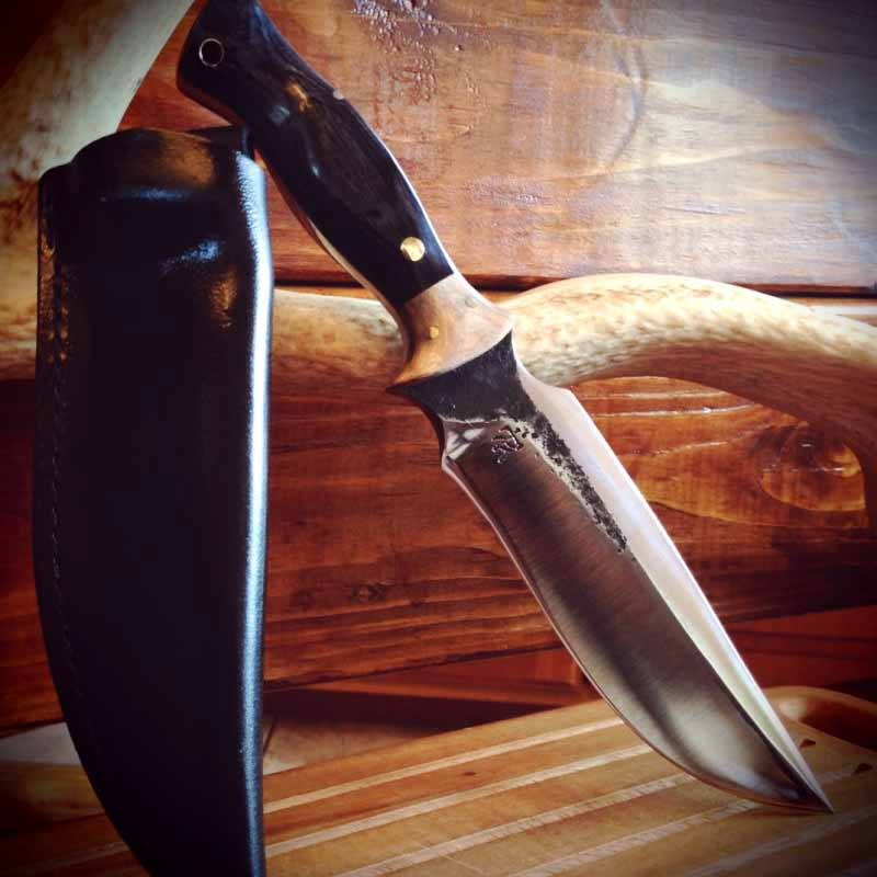 Check out this New 5160 NORSEMAN tactical blade in black and silver diamond-wood with curly maple bo