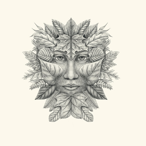 Green Man of the Northern Forests - Summer B & W