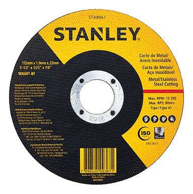 "Stanley Disco Corte metal/Ac Inox 4.5"" (115x1.0x22mm) T1"