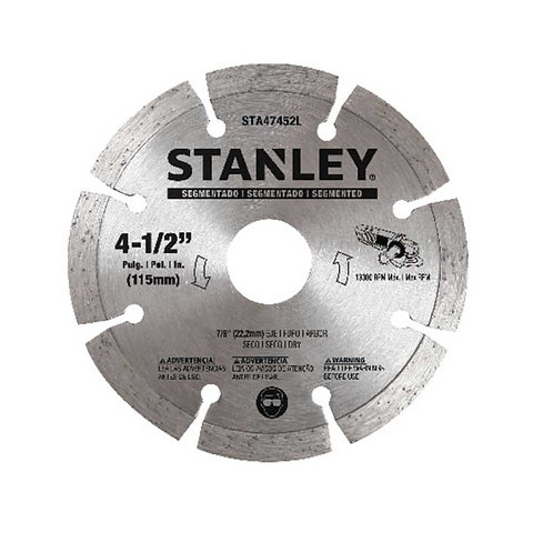 "Stanley Disco diamantado segmentado 4.5"" Eje 5/8""-7/8"""