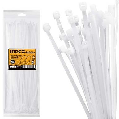 PACK 100 AMARRAS PLASTICAS BLANCAS 4.8X300MM INGCO