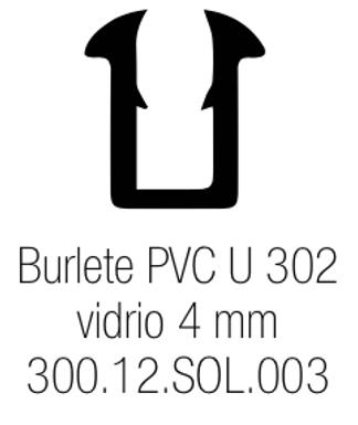 Burlete PVC Tipo U 302 Vidrio de 4 mm