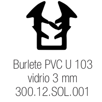 Burlete PVC Tipo U 103 Vidrio de 3 mm Especial