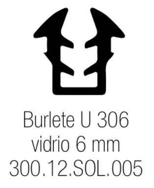 Burlete PVC Tipo U 306 Vidrio de 6 mm