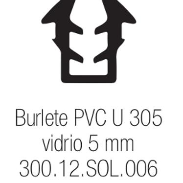 Burlete PVC Tipo U 305 Vidrio de 5 mm