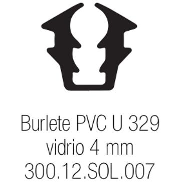Burlete PVC Tipo U 329 Vidrio de 4 mm
