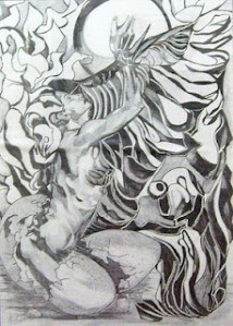 Hatched woman