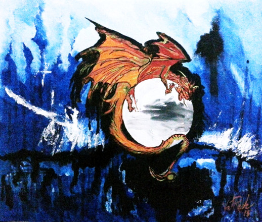 Dragon over Moon