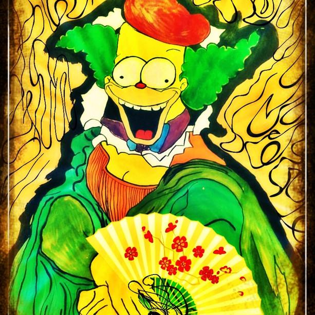 Monalisa meets Krusty the Clown