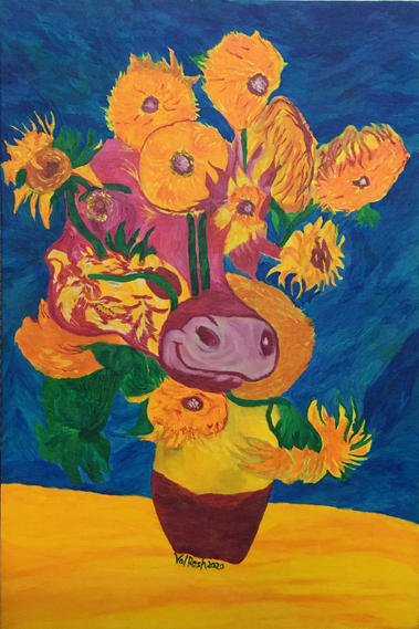 Indian Cow walked into Van Gogh's Sunflowers