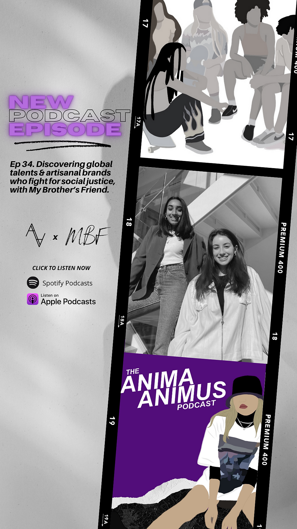 A fashion podcast by The ANIMA ANIMUS Podcast, hosted by Chelsea, featuring Nisha Momin and Sofia Yepes from My Brother's Friend Podcast.