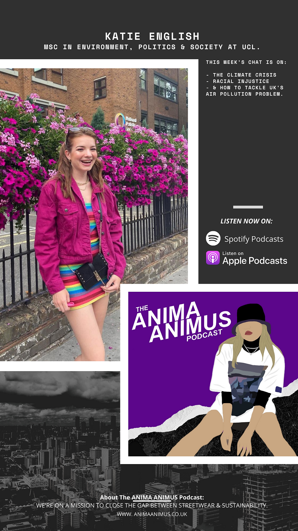 Katie Scarlett English featured on The ANIMA ANIMUS Podcast, a podcast focusing on streetwear fashion and sustainability.