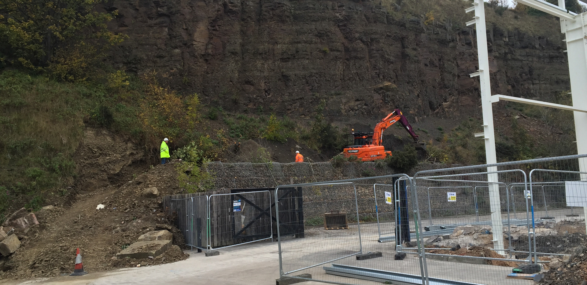 earthworks to provide catch trench