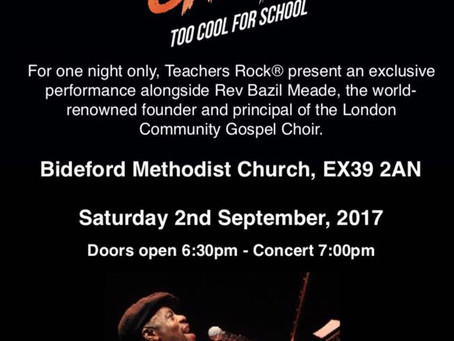 Teachers Rock® concert with Rev Bazil Meade (LCGC) - tickets now on general sale . . .
