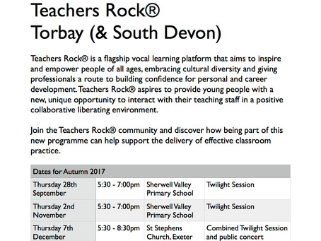 Teachers Rock® Plymouth & Teachers Rock® Torbay/South Devon . . . Autumn Term bookings now open