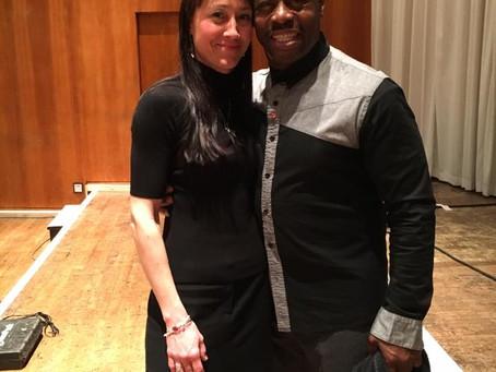 Teachers Rock founder works alongside Rev Bazil Meade whilst the London Community Gospel Choir visit