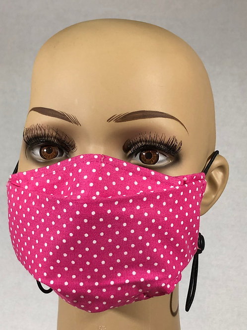 Masque rose à pois blanc
