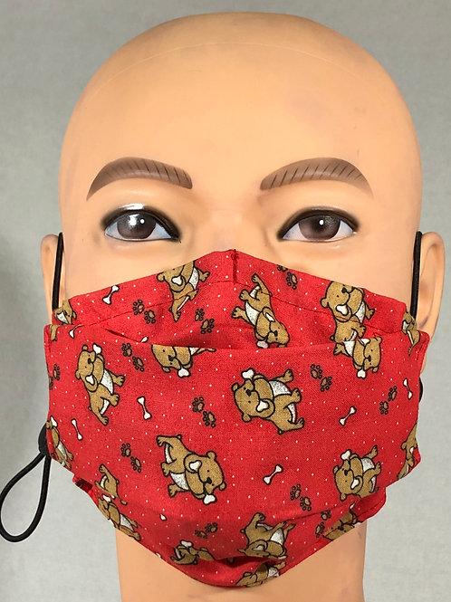 Masque rouge avec bulldogs