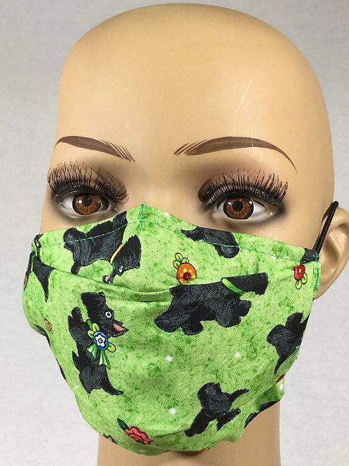 Masque vert avec chiens