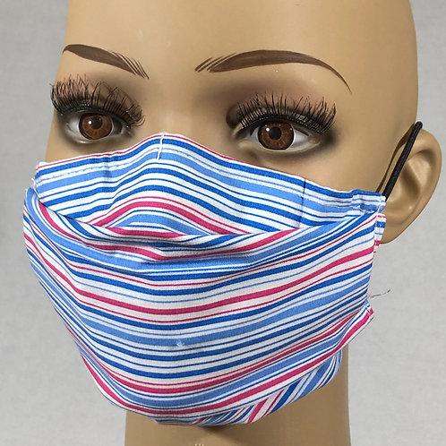 Masque à rayures bleu ,blanc, rose