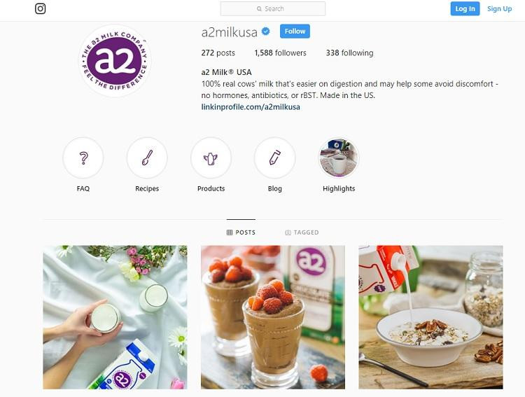 A2 milk Instagram