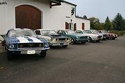 Club de passionnés de Ford Mustang devant notre cave