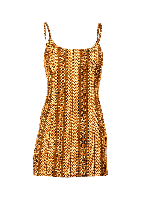 Glint of gold scoop neck mini dress