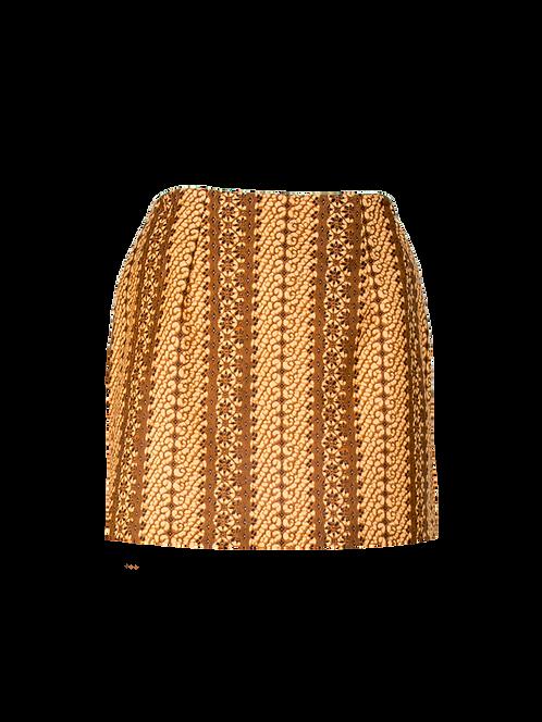 Glint of gold high waisted mini skirt