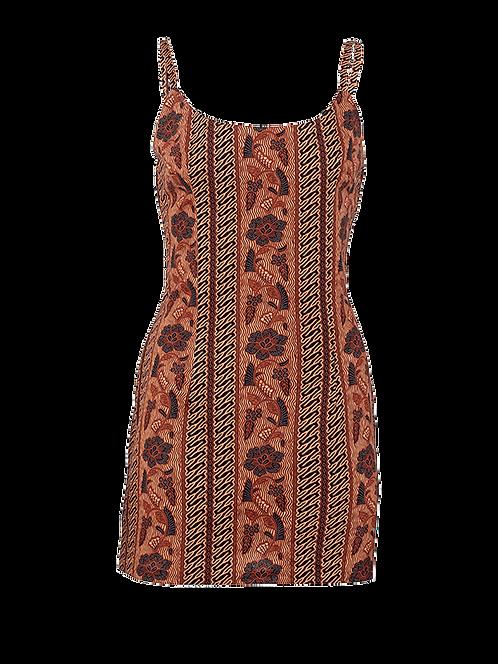 Stroke of earth scoop neck mini dress