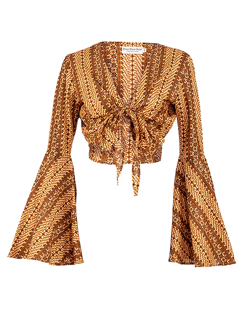 Glint of gold tie knot bell sleeve top