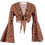 Thumbnail: Stroke of earth tie knot bell sleeve top