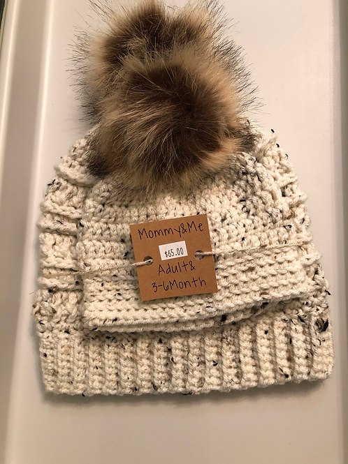 Mommy & Me, Adult & 3-6 Month Knit Hat with Pom Pom Set