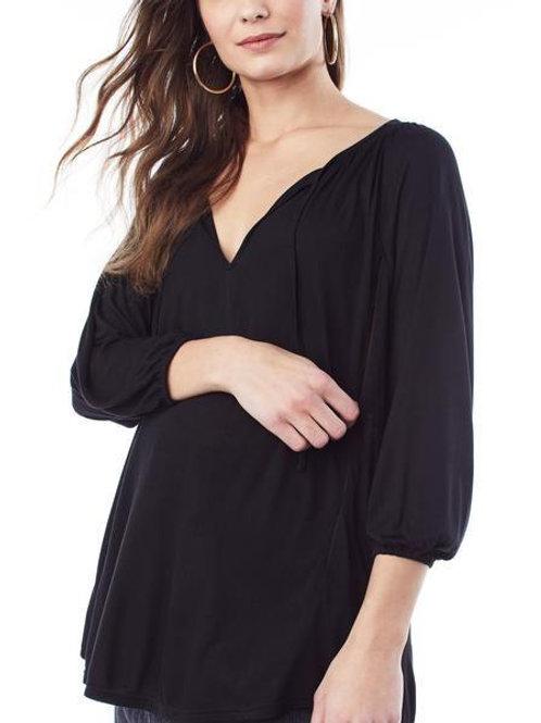 Loyal Hana Megan Black 3/4 Sleeve Nursing Top
