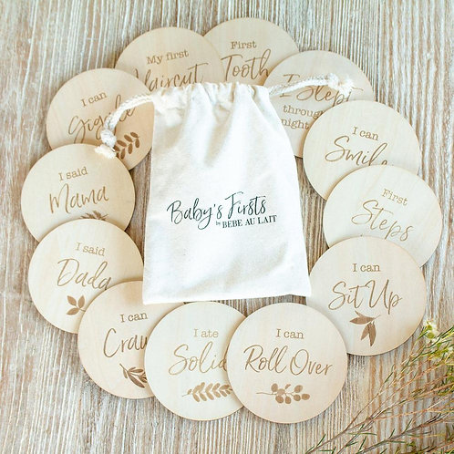 Bebe au Lait Baby's Firsts Milestone Markers