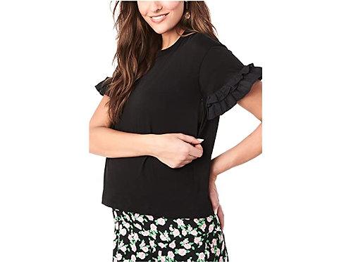 Loyal Hana Joey In Black - Nursing & Maternity T Shirt With Ruffle Sleeve