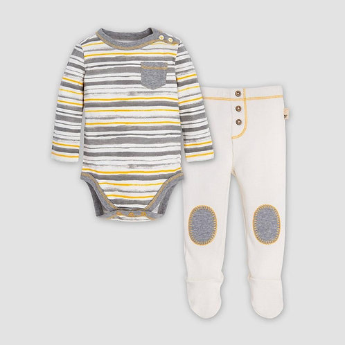 Burt's Bees Baby Honey Fields Stripe Organic Cotton Bodysuit & Thermal Pants S