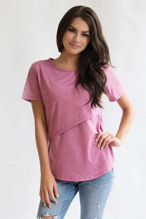 Nursing Queen T-Shirt with Asymmetrical Flap - Pink