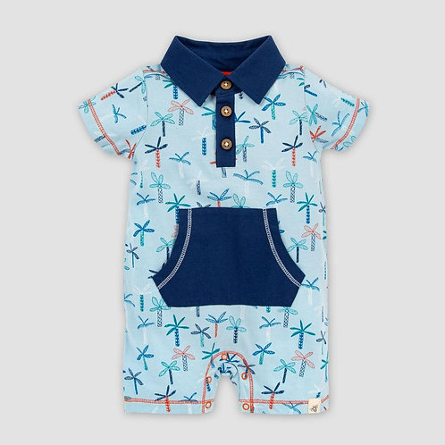 Burt's Bees Baby Organic Cotton Quirky Palms Polo Romper