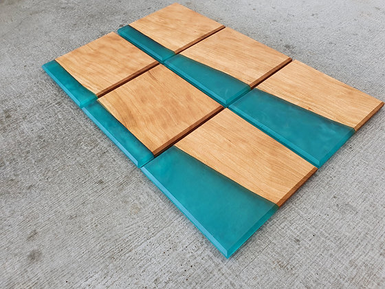 Cherry with Teal epoxy - Coasters 6pcs