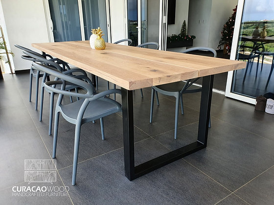 Dining table 300x100cm, split top - white oak
