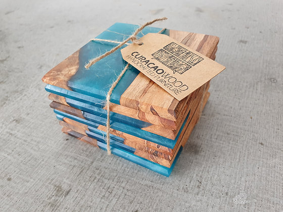 Ambrosia Maple with Teal epoxy - Coasters 8pcs
