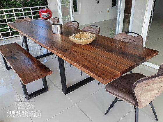 Dining table 300x100cm, split top - black walnut
