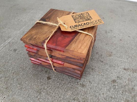 Walnut with Cabaret Red epoxy - Coasters 8pcs