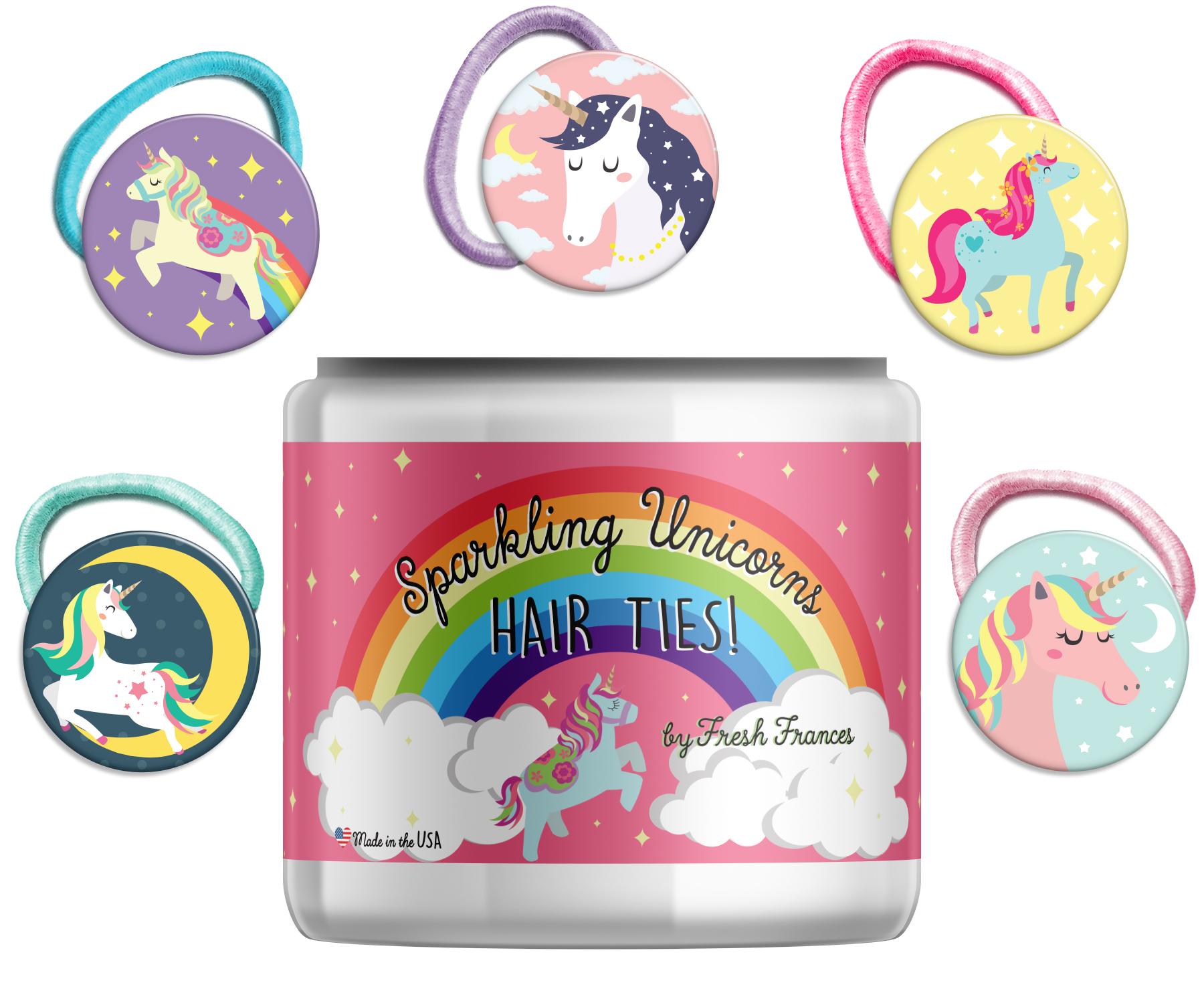 Sparkling Unicorn Hairties with Jar