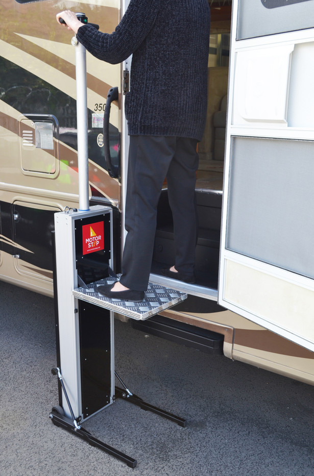 Motorsetep lift for RV and travel trailer.