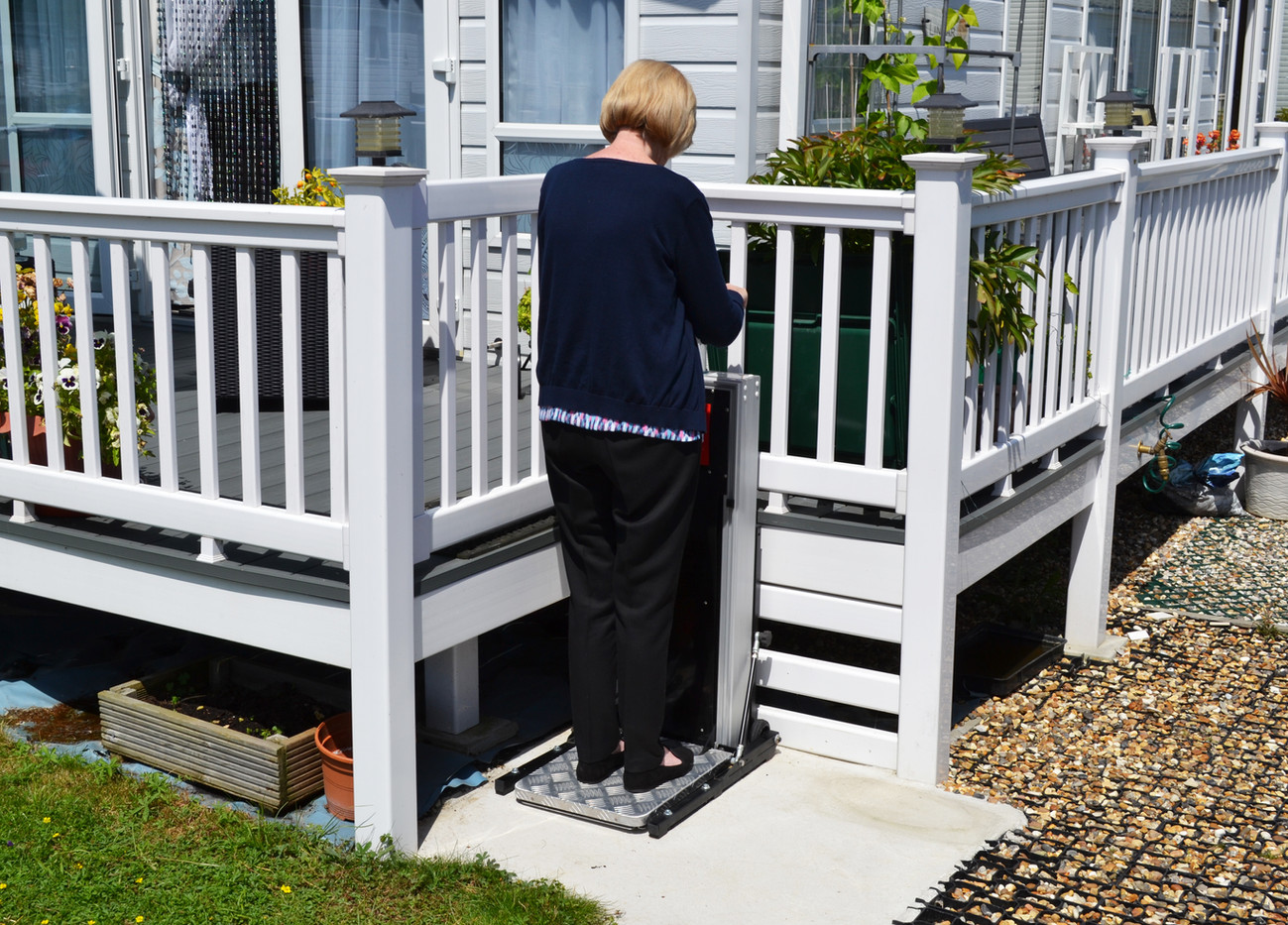 Static home step lift for disabled.
