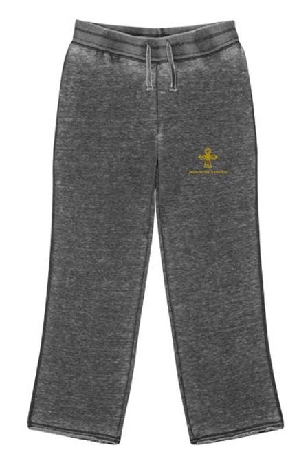 Embroidered Zen Fleece Sweatpants With Gold Logo