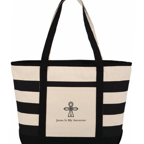 Zippered Stripe Logo Canvas Tote